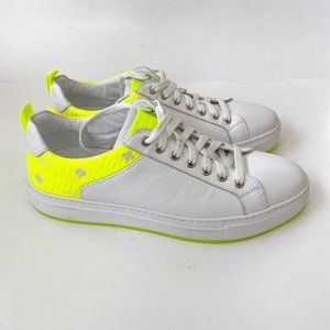 MCM Men's Neon-Trimmed Leather Sneakers